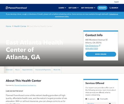 STD Testing at Planned Parenthood - East Atlanta Health Center ofAtlanta, GA