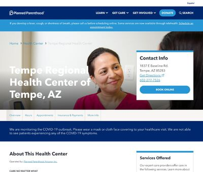 STD Testing at Planned Parenthood Arizona Incorporated (New Tempe Regional Health Center)