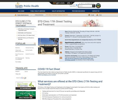 STD Testing at Orange County Health Care Agency