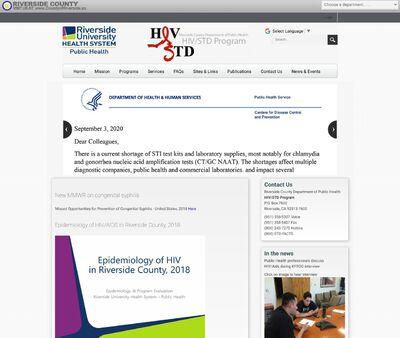 STD Testing at Riverside County Department of Public Health: HIV/STD Program