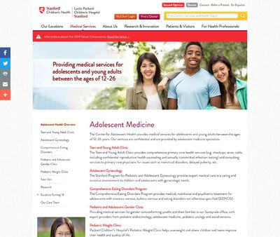 STD Testing at Stanford Children's Health, Stanford Teen and Young Adult Clinic