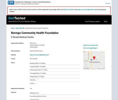 STD Testing at BorregoCommunity Health Foundation