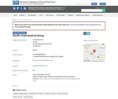 STD Testing at Pacific Coast Medical Group