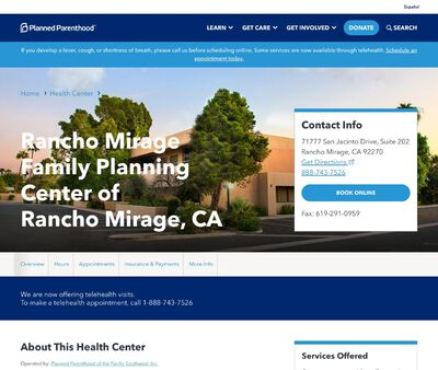 STD Testing at Planned Parenthood - Rancho Mirage Family Planning Center of Rancho Mirage, CA
