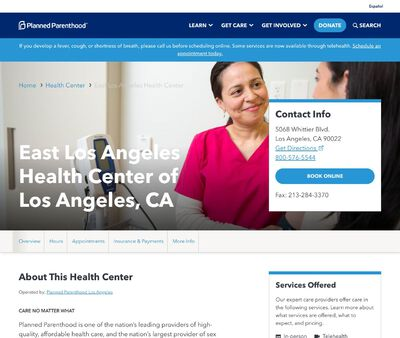 STD Testing at Planned Parenthood Los Angeles (East Los Angeles Health Center)