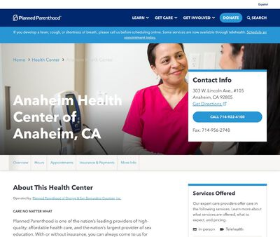STD Testing at Planned Parenthood of Orange and San Bernardino Counties Incorporated (Anaheim Health Center)
