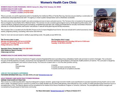STD Testing at Women's Health Care Clinic – Torrance Center