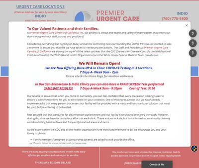 STD Testing at Premier Urgent Care Centers of California, Inc. - Indio