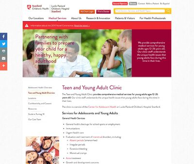 STD Testing at Stanford Teen and Young Adult Clinic