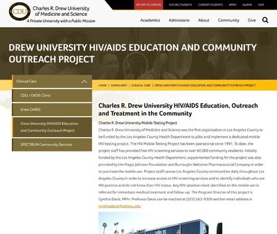 STD Testing at Charles Drew University (HIV/AIDS Education and Community Outreach Project)