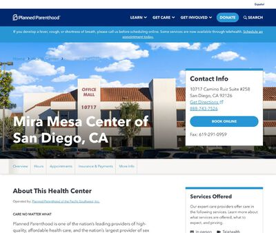 STD Testing at Planned Parenthood of the Pacific Southwest Incorporated Mira Mesa Centre of San Diego