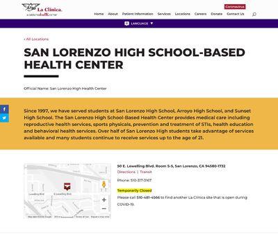 STD Testing at La Clinica (San Lorenzo High School Based Health Center)