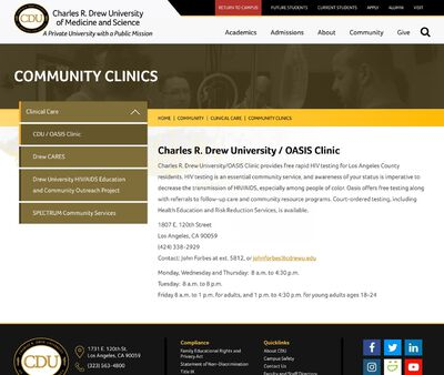 STD Testing at Charles R. Drew University of Medicine and Science (OASIS Clinic)