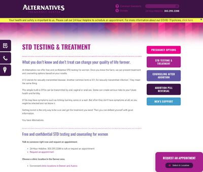 STD Testing at Alternatives Pregnancy Center