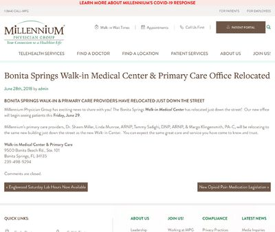STD Testing at Millennium Physician Walk-in- Bonita Springs
