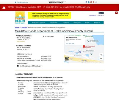 STD Testing at Florida Department of Health in Seminole County - Sanford Location
