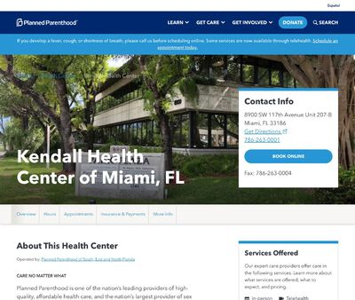 STD Testing at Planned Parenthood - Kendall Health Center of Miami, FL