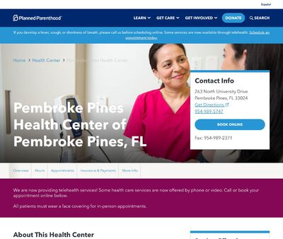 STD Testing at Planned Parenthood of South, East, and North Florida Incorporated (Pembroke Pines Health Center)