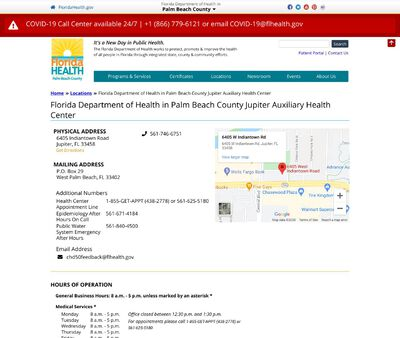 STD Testing at Florida Department of Health in Palm Beach County Jupiter Auxiliary Health Center
