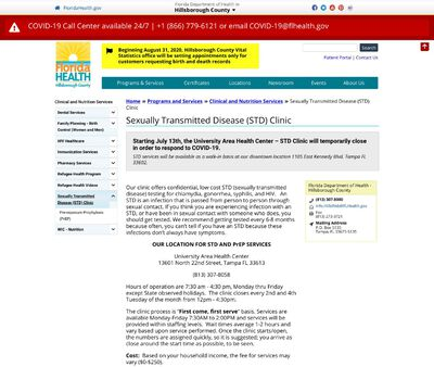 STD Testing at Florida Department of Health in Hillsborough County