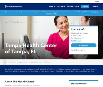 STD Testing at Planned Parenthood - Tampa Health Center of Tampa, FL