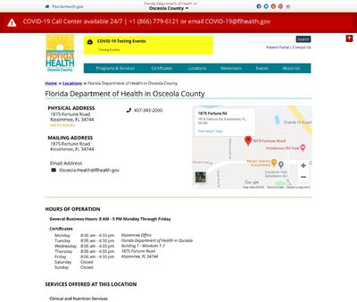 STD Testing at Florida Department of Health in Osceola County