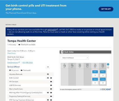 STD Testing at Planned Parenthood of Southwest and Central FloridaTampa Health center