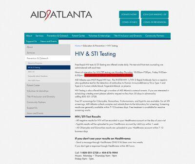 STD Testing at AID Atlanta