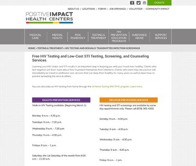 STD Testing at Positive Impact Health Centers