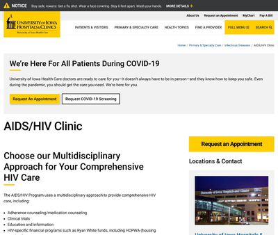 STD Testing at University of Iowa Hospitals and Clinics (AIDS/HIV Clinic)