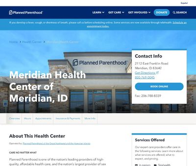 STD Testing at Planned Parenthood - Meridian Health Center of Meridian, ID