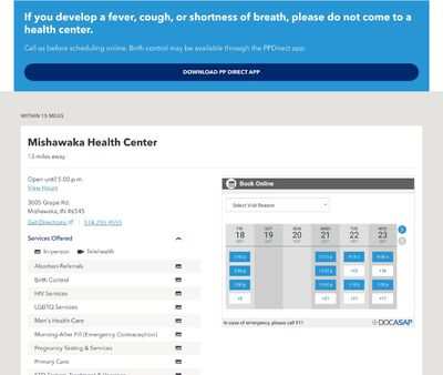 STD Testing at Planned Parenthood Health Center of Elkhart, IN