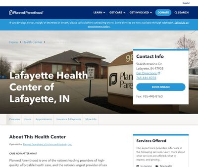 STD Testing at Planned Parenthood of Indiana and Kentucky Incorporated (Lafayette Health Center)