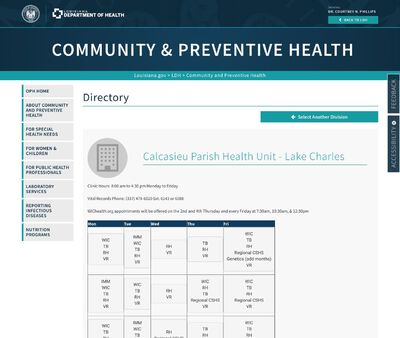 STD Testing at Louisiana Department of Health and Hospitals (Calcasieu Parish Health Unit)