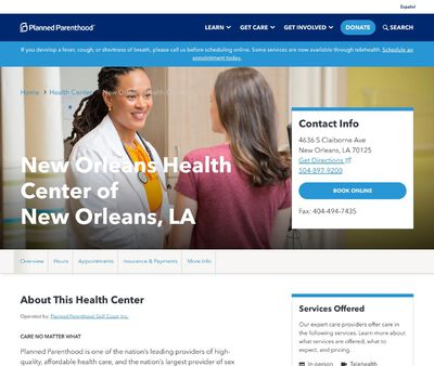 STD Testing at New Orleans Health Center of New Orleans, LA