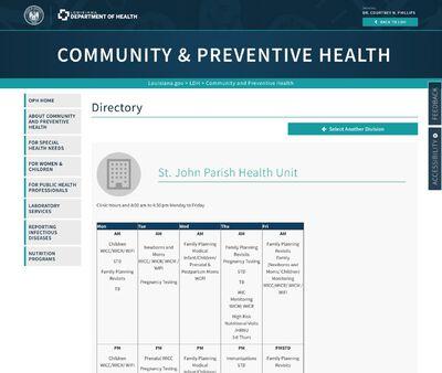 STD Testing at St. John Parish Health Unit
