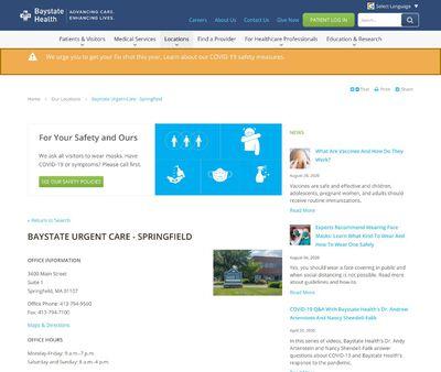 STD Testing at Baystate Urgent Care - Springfield