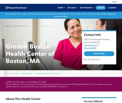 STD Testing at Planned Parenthood -Greater Boston Health Center of Boston, MA