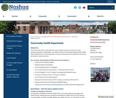 STD Testing at The Nashua Division of Public Health & Community Services
