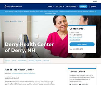 STD Testing at Planned Parenthood of Northern New England (Derry Health Center)