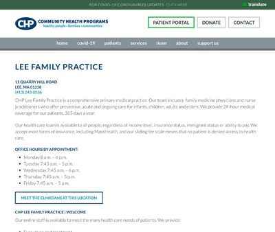 STD Testing at Community Health Programs CHP Lee Family Practice
