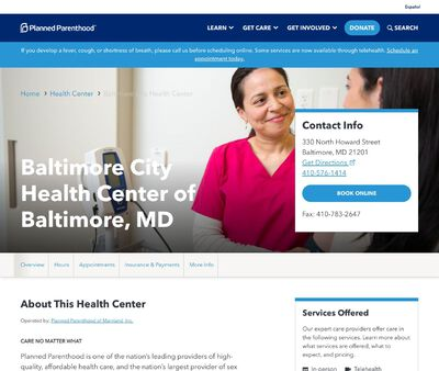 STD Testing at Planned Parenthood - Baltimore City Health Center of Baltimore, MD