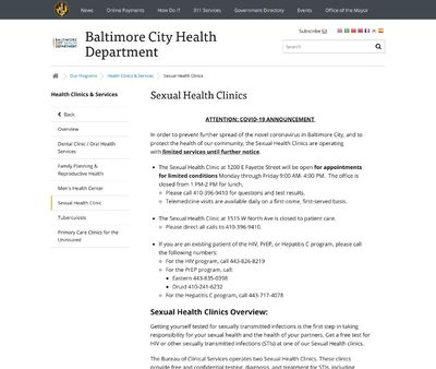 STD Testing at Baltimore City Health Department Druid STD clinic