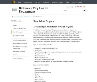 STD Testing at Baltimore City Health Department Ryan White Program