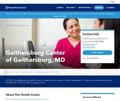 STD Testing at Planned Parenthood – Gaithersburg Health Center of Gaithersburg, MD