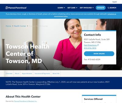 STD Testing at Towson Health Center of Towson, MD