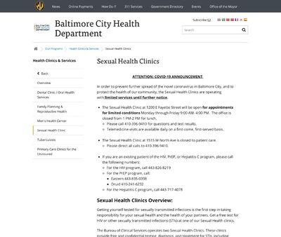 STD Testing at Baltimore City Health Department- Druid STD Clinic
