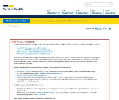 STD Testing at MedStar Health Urgent Care in Capitol Hill