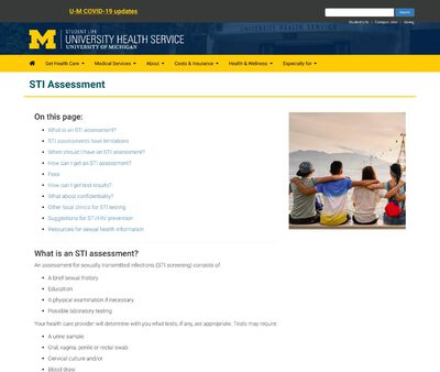 STD Testing at University of Michigan – University Health Service (UHS)