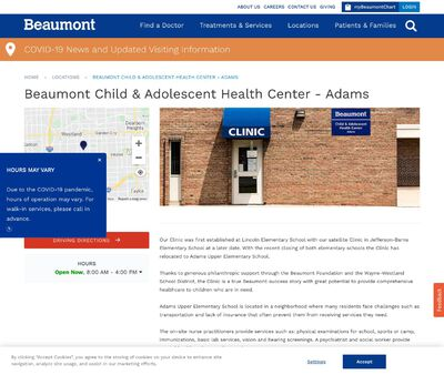 STD Testing at Beaumont Health (Oakwood Adams Child and Adolescent Health Center)